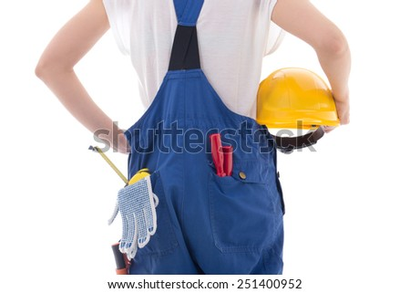 yellow protective helmet in builder's hands isolated on white background