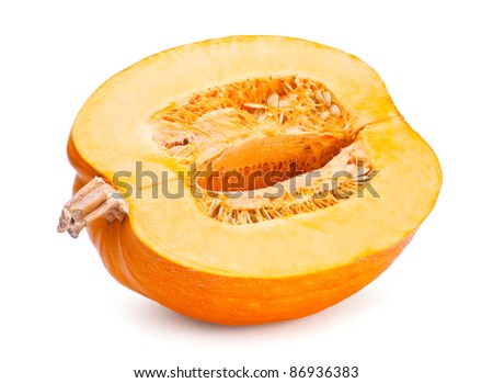 Yellow pumpkin with slice on white background