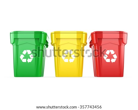 Yellow radioactive barrels on white background