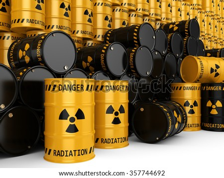 Yellow radioactive barrels on white background - stock photo