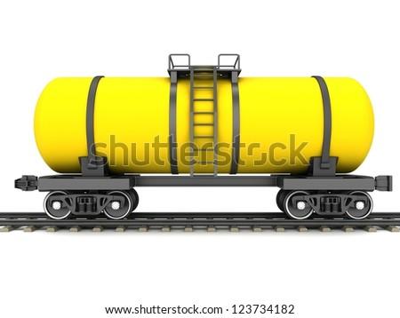 Yellow railroad tank wagon on a white background. - stock photo