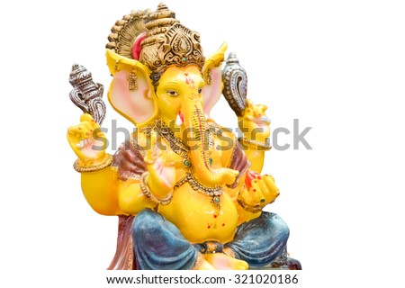 Yellow rasin Ganesh Elephant Hindu god statue closeup focused for rich and break the obstacle in life pose isolated on white background - stock photo