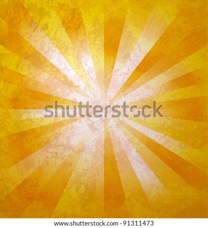 yellow rays of light from center to the edges  grunge background - stock photo