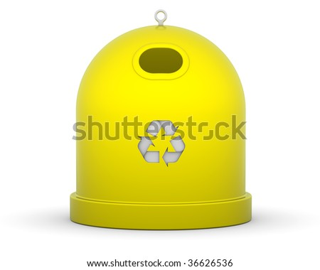 Yellow recycle bin for plastic in a white background