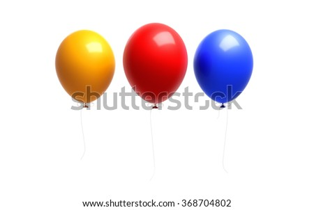 Yellow red and blue coloured  balloons. The balloons are attached to strings. Isolated on white background. Clipping path is included. - stock photo