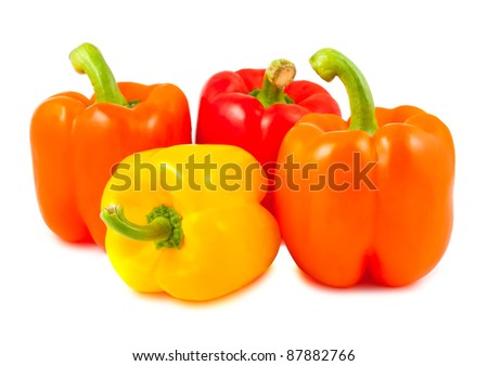 Yellow, red and orange peppers isolated on white background - stock photo