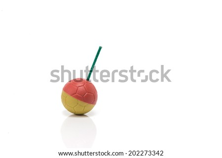 Yellow-red bomb with slate green or firework sound of thailand on isolate white background. - stock photo
