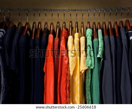Yellow, red, green and blue dresses - stock photo