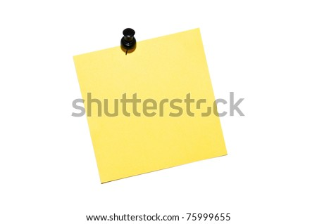 Yellow reminder note with black pin isolated on white background - stock photo