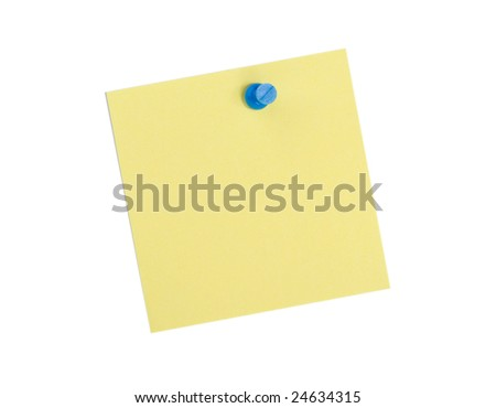 Yellow  reminder note with blue pin on white background - stock photo