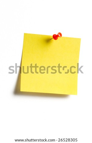 Yellow reminder note with red pin - stock photo