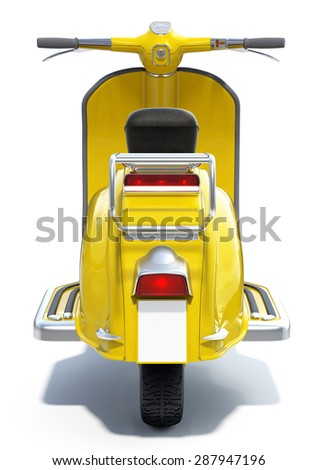 Yellow Retro Scooter with Blank License Plate. Back View - stock photo