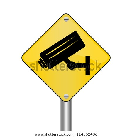 Yellow Rhombus Road Sign For No Trespassing With CCTV Sign Isolated on White Background