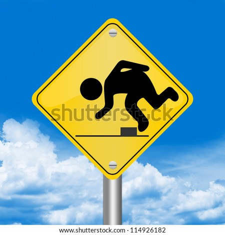 Yellow Rhombus Road Sign For Watch Your Step Against The Blue Sky Background - stock photo