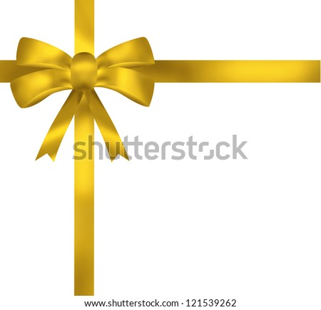 Yellow ribbon bow card illustration on white background
