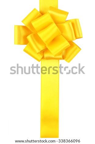 Yellow ribbon bow isolated on white - stock photo