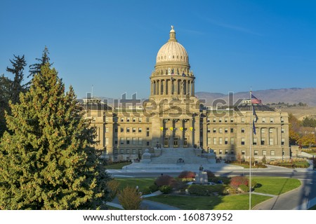 Yellow ribbons on the capital building in Boise Idaho - stock photo