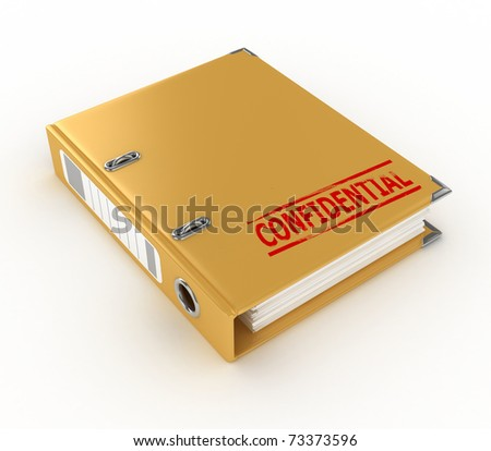 yellow ring binder with confidential stamp isolated on the white background - stock photo