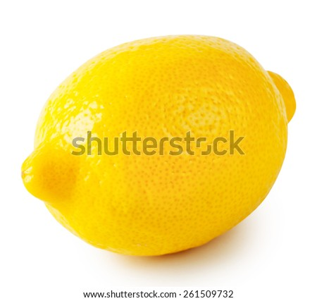 Yellow ripe sour lemon isolated on a white background