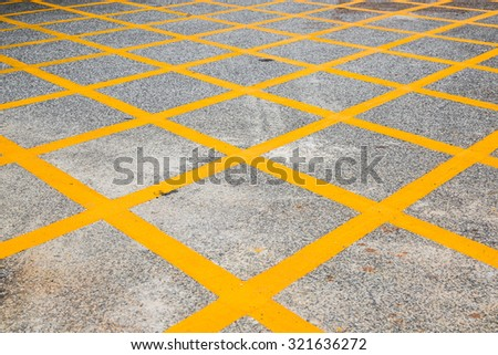 Yellow road crossed marking, Cross line, No stop sign - stock photo