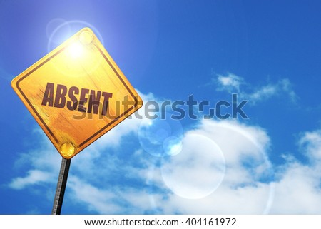 Yellow road sign with a blue sky and white clouds: absent - stock photo