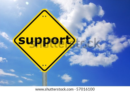 yellow road sign with support showing assistance concept - stock photo