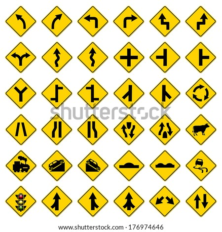 set hazard warning signs symbol illustration stock vector