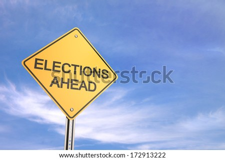 Yellow road warning sign , Elections Ahead  - stock photo