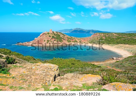 yellow rocks in Porticciolo coastline, Sardinia - stock photo