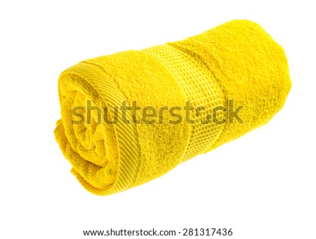 Yellow rolled towel Isolated on white background. - stock photo