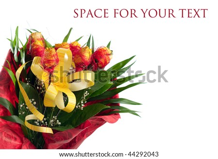 yellow rose bouquet isolated on white background (with sample text)