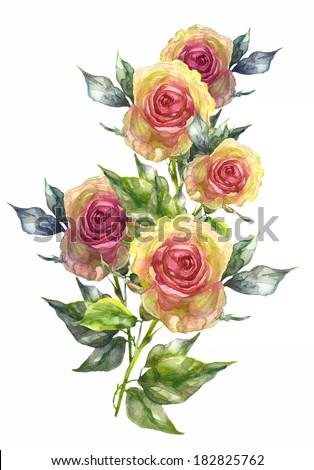 Yellow Rose Garland. - stock photo