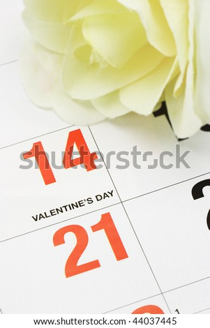 Yellow rose on calendar page showing Valentine's day - stock photo