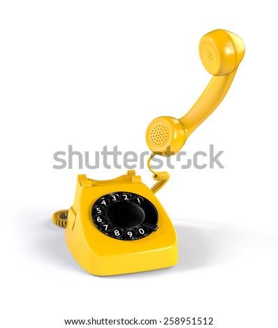 Yellow Rotary Phone on White Background - stock photo