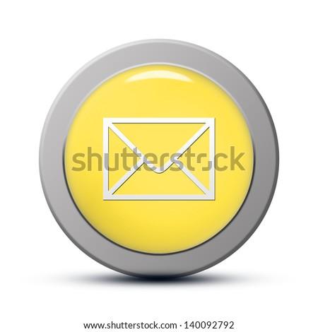 yellow round Icon series : Email button - stock photo