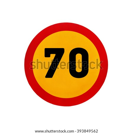 Yellow round speed limit 70 road sign - stock photo