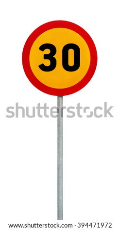 Yellow round speed limit 30 road sign on rod - stock photo