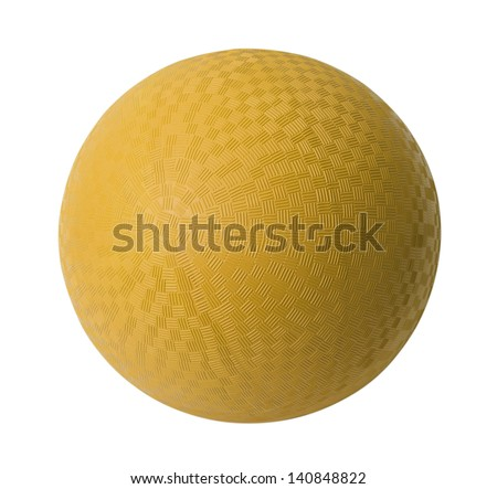 Yellow Rubber Ball Isolated on White Background. - stock photo