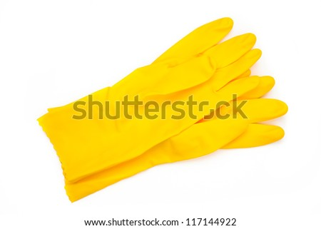 Yellow rubber cleaning gloves