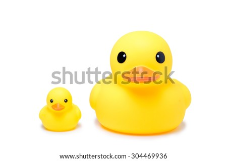 Yellow rubber duck toy in isolate white background, have big one and small one duck - stock photo