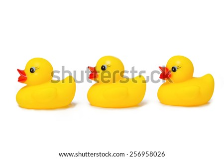 Yellow rubber ducks all lined up in a row. - stock photo