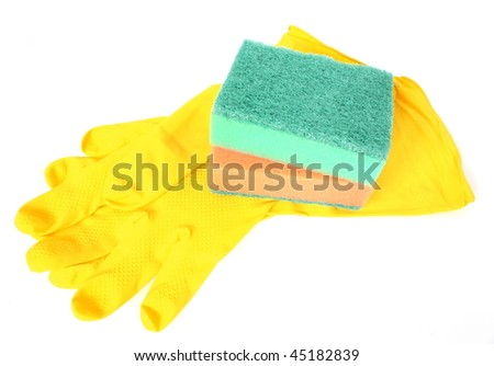 yellow rubber gloves and kitchen sponges