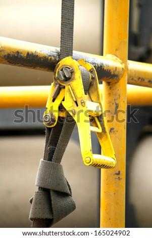 Yellow safety belt - stock photo