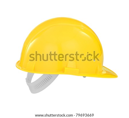 Yellow safety builder hard hat isolated with clipping path included - stock photo