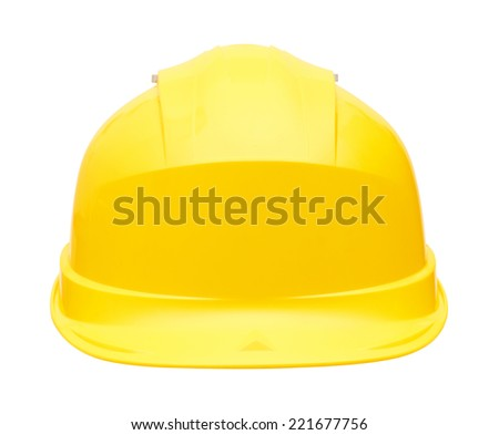 Yellow safety helmet, isolated on white background - stock photo
