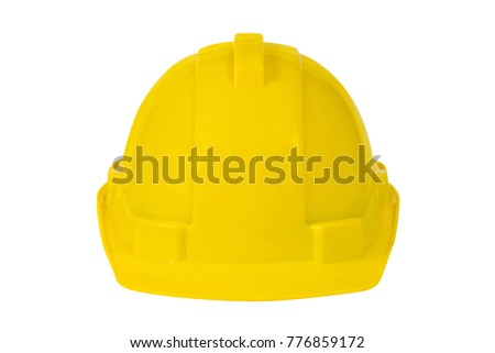 Yellow safety helmet isolated on white background. Safety industrial equipment concept. Worker and Industrial item. clipping path.