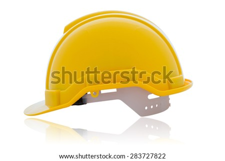 Yellow safety helmet isolated on white background with clipping path - stock photo