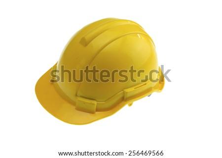 Yellow safety helmet on white background. - stock photo