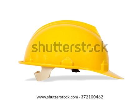 Yellow safety helmet on white background. hard hat isolated on white - stock photo