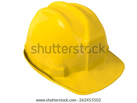Yellow safety helmet or hard hat on white background